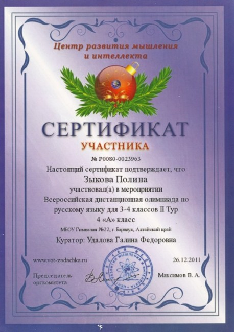 сертификат участника олимпиады