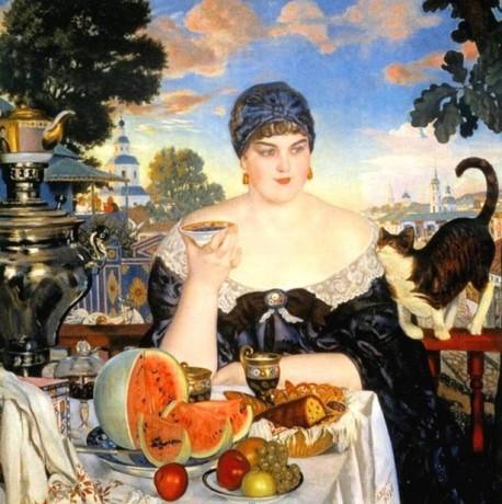 Картина «Купчиха за чаем» Борис Кустодиев 1918год