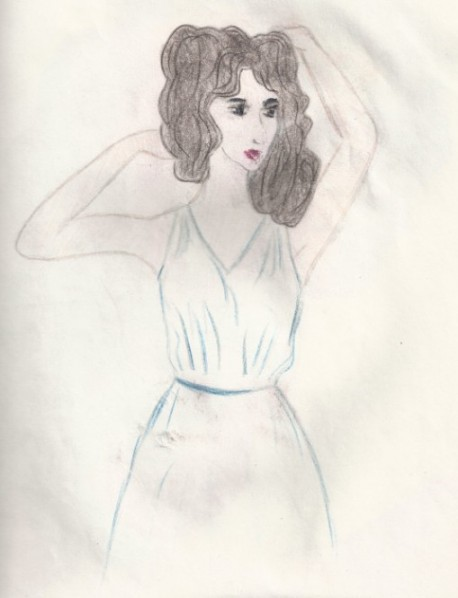 рисунок карандашами девушка