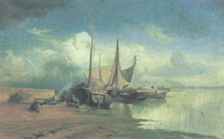 Ф. Васильев. Вид на Волге. Барки. 1870 г.