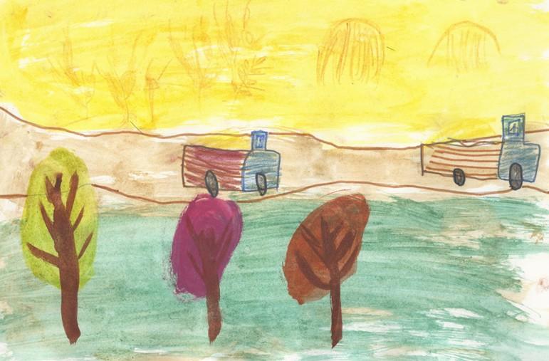рисунки осени детские карандашом: