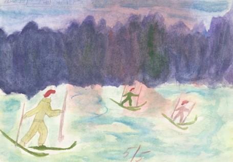 лыжная прогулка в лесу