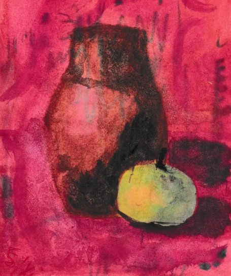 Натюрморт: крынка и яблоко