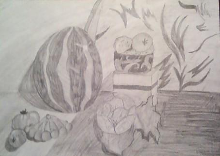 «Натюрморт с арбузом и овощами». Карандаш.