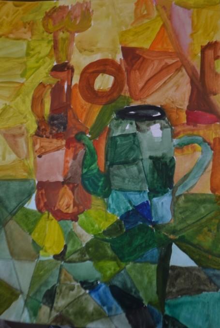 «Натюрморт с чайником». Акварель.