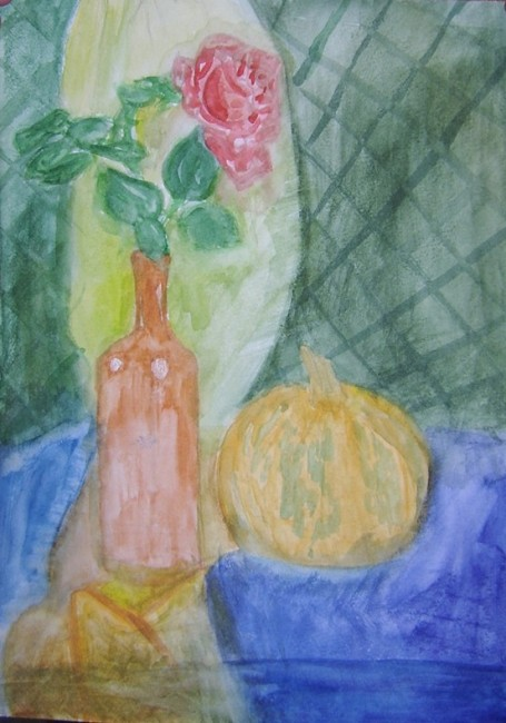 «Натюрморт с розой и тыквой». Акварель.