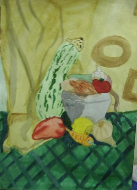 «Натюрморт с овощами». Акварель.