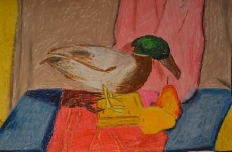 «Натюрморт с чучелом  утки». Масляная пастель.