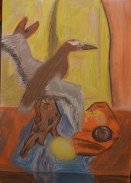«Натюрморт с чучелом птицы, яблоком, сливой и лимоном». Сухая пастель.