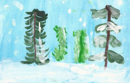 Рисунок «Снег в лесу»