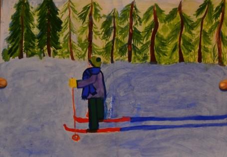 Рисунок «Лыжная прогулка в лесу»