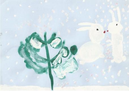 Рисунок «Зайцы прыгают»
