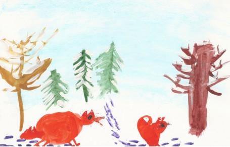 Рисунок «Лисички в лесу»