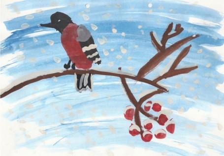 Рисунок «Снегирь на ветке рябины»