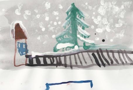 Рисунок «Избушка и ёлка под снегом»