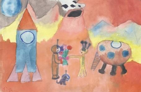 Рисунок Янсон О. «Завоевание космоса»
